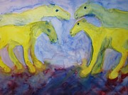 Sweating Framed Prints - Yellow Horses Framed Print by Hilde Widerberg