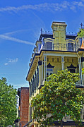 Savannah Street Scenes Framed Prints - Yellow House Framed Print by Larry Bishop