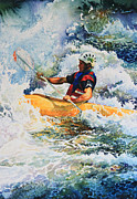 White Water Kayaking Print Paintings - Yellow Kayak iPhone Case by Hanne Lore Koehler