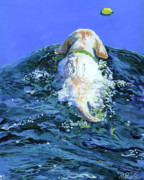 Dog Swimming Paintings - Yellow Lab  Blue Wake by Molly Poole
