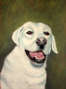 White Dogs Pastels Framed Prints - Yellow Lab Cooper Framed Print by Lenore Gaudet