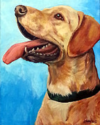 Yellow Labrador Retriever Paintings - Yellow Lab Profile on Blue by Dottie Dracos
