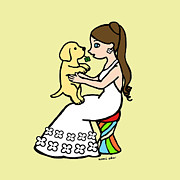 Yellow Lab Puppy And Girl Print by Naomi Ochiai