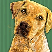 Labrador Digital Art - Yellow Lab Squared by Sharon Marcella Marston