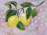 Yellow Lemons On Purple Orchid Print by Jen Norton