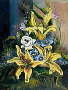 Traditional Art Painting Originals - Yellow Lillies by Elisabeta Hermann