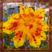 Witkowski Mixed Media Prints - Yellow Lily with Streaks of Red Abstract Painting Flower Art Print by Omaste Witkowski