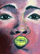 Lips  Paintings - Yellow Lips by Tanysha Bennett-Wilson