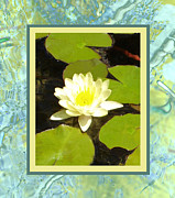 Flower Gardens Mixed Media Framed Prints - Yellow Lotus Framed Print by Ellen Henneke
