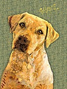 Labrador Digital Art - Yellow Love by Sharon Marcella Marston