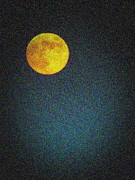 Man In The Moon Prints - Yellow Man in the Moon Print by Colleen Kammerer