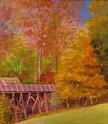 Mabry Mill Paintings - Yellow Maple Tree Near Old Mill by Anne-Elizabeth Whiteway