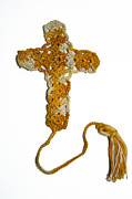 Featured Tapestries - Textiles Originals - Yellow Marble Cross Bookmark by Diane M