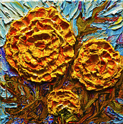 Paris Wyatt Llanso Prints - Yellow Marigolds Print by Paris Wyatt Llanso