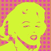 Polk-a-dots Posters - Yellow Marilyn Poster by Cynthia Edwards