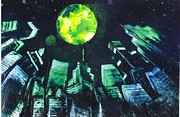 Featured Originals - Yellow moon over the city by Roldan West