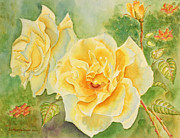 Flowers Paintings - Yellow Moonbeams by Kathryn Duncan