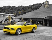 Racing Mustangs Prints - Yellow Mustang Print by Dan Sproul