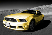 Custom Ford Metal Prints - Yellow Mustang Metal Print by Rob Hawkins