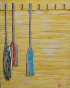 Paddles Paintings - Yellow Oars by Kris  Hicks