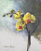 Backlit Painting Framed Prints - Yellow Orchid Framed Print by Anna Bain