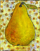 Fruit Art Framed Prints - Yellow Pear on Squares Framed Print by Blenda Tyvoll