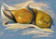 Healthy Pastels Posters - Yellow Pears on Blue Paper Pastel Drawing Poster by MM Anderson