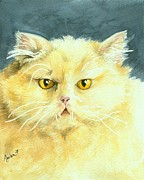 Persian Cat Paintings - Yellow Persian Cat by Dottie Dracos