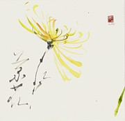 Sumie Prints - Yellow Poem Print by Lilith Ohan