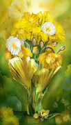 Carol Cavalaris Framed Prints - Yellow Poppies In Poppy Vase Framed Print by Carol Cavalaris