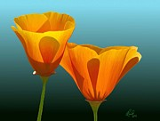 Blue Herron Digital Art - Yellow Poppies by Rand Herron