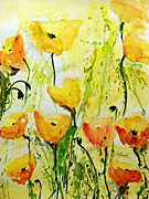 Ismeta Originals - Yellow Poppys - Abstract Floral Painting by Ismeta Gruenwald