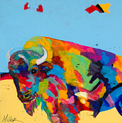 Buffalo Paintings - Yellow Prairie Blue Sky by Tracy Miller