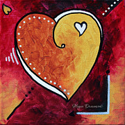 Rust Paintings - Yellow Red Orange Heart Love Painting Pop Art Love by Megan Duncanson by Megan Duncanson