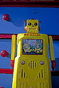 Rescue Tapestries Textiles - Yellow robot in front of drawers by Garry Gay