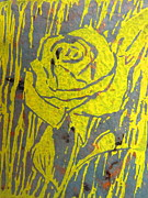 Linocut Painting Posters - Yellow Rose on Blue Poster by Marita McVeigh