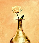 Reflected Digital Art - Yellow Rose on Gold by Marsha Heiken