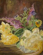 Veronica Coulston - Yellow Roses and Buddleia