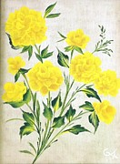 Neutral Background Paintings - Yellow roses by Carolyn Wear