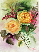 Roos Paintings - Yellow Roses by Mireille Van de Riet