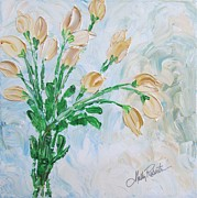 Vase Of Flowers Painting Prints - Yellow Roses Print by Molly Roberts
