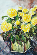 Gruenwald Painting Framed Prints - Yellow Roses- Painting Framed Print by Ismeta Gruenwald