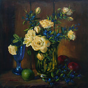 Rose Wine Paintings - Yellow Roses with Lime and Apples by Sue Cervenka