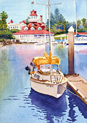 Sailboat Paintings - Yellow Sailboat and Coronado Boathouse by Mary Helmreich