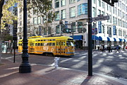 Trollies Photos - Yellow San Francisco Vintage Streetcar on Market Street - 5D19798 by Wingsdomain Art and Photography