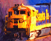 Diesel Locomotives Prints - Yellow Sante Fe Locomotive Print by Wingsdomain Art and Photography