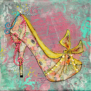 Pink Shoes Framed Prints - Yellow Shoe with Watercolor Flower Print Framed Print by Janelle Nichol