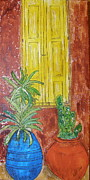 Cactus Art Drawings Posters - Yellow Shutters Poster by Marcia Weller-Wenbert