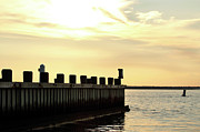 Ocean Images Photo Posters - Yellow Sky at LBI Poster by John Rizzuto