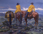 Cowboys Prints - Yellow Slickers Print by Randy Follis